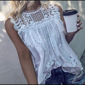 ASTER Floral Eyelet Lace Top